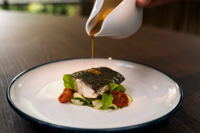 the-cliff-poached-seabream-with-mint-zucchini-and-sea-urchin-sauce